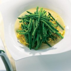 Stir-fried asparagus and angel-hair pasta in lemony broth