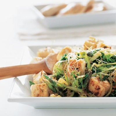 Stir-fried asparagus and tofu on brown rice