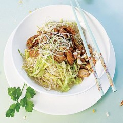 Stir-fried chicken and cashews with cabbage noodles