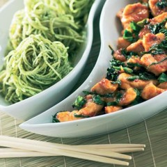 Stir-fried chilli-barbecue chicken and greens with coriander noodles