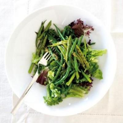 Stir-fried green-vegetable salad with citrus dressing