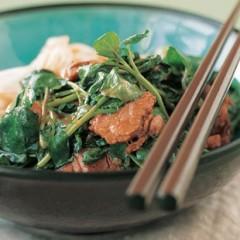 Stir-fried hoisin pork with wilted watercress and soya-orange dressing