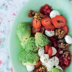 Strawberries, scooped avocado, bocconcini and walnuts drizzled with warm redcurrant vinaigrette