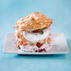 Strawberry and coconut wafer stacks