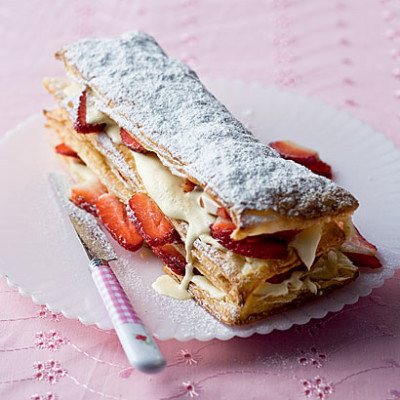 Strawberry and cream millefeuille