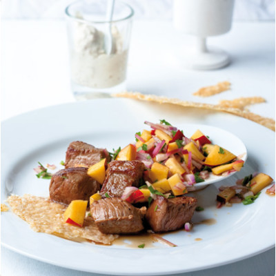Succulent steak, nectarine and red-onion salad with Parmesan crisps