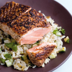 Sumach salmon on brown rice and preserved lemon salad