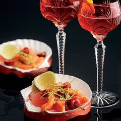 Summer berry Campari with salmon ceviche
