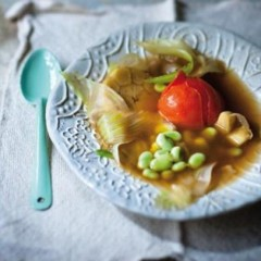 Summer broad bean and poached tomato broth