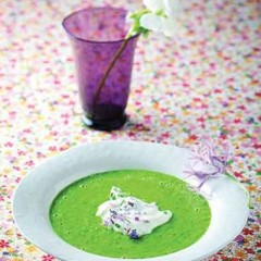 Summer broccoli soup with flower-scattered lemon yoghurt