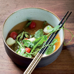 Summer tomato broth with green tea noodles