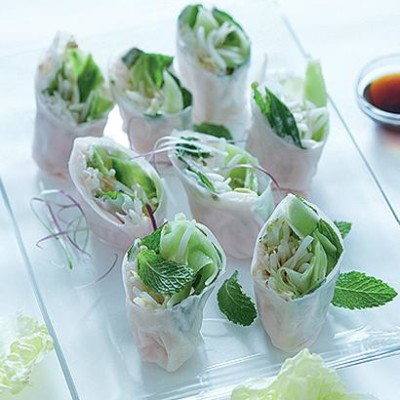 Summer wraps with cucumber and taramasalata