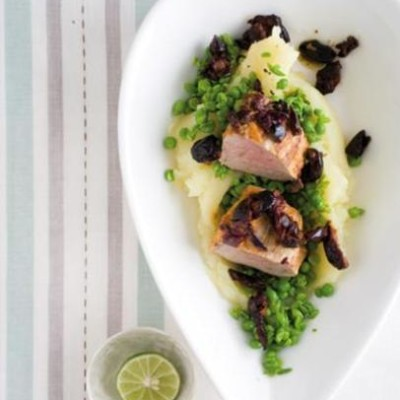Sun-dried tomato basted pork fillets with creamed sweet potato and smashed peas