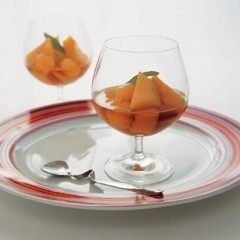 Sweet melon with chilled dessert wine