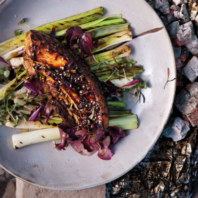 Sweet miso pork belly with charred leeks