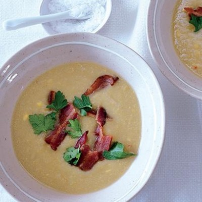 Sweet potato, corn and chilli chowder with crispy bacon