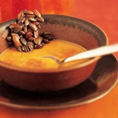 Sweet pumpkin custard with candied pumpkin seeds