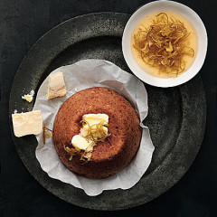 Sweetcorn bread with Parmesan ice cream and lemon confit