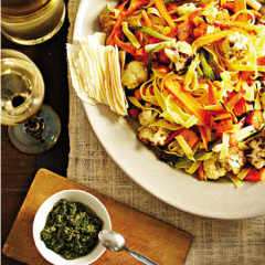 Tagliatelle with roasted winter vegetables