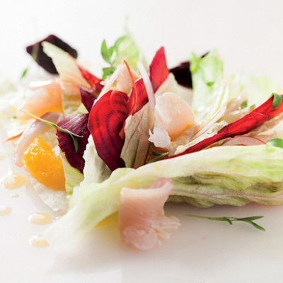 Tahitian-style angelfish ceviche with citrus dressing and beetroot salad