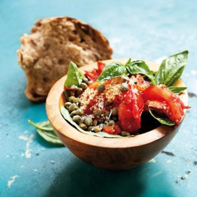 Tapas of sesame-roasted Mediterranean tomato and capers