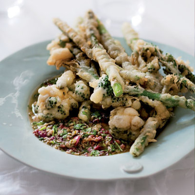 Tempura broccoli and asparagus with warm caper dressing