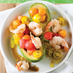 Tempura prawn, avocado and melon salad