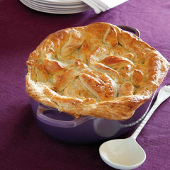 Tender lamb, brinjal and potato curry pie