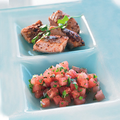 Tequila and chilli salmon with watermelon salsa