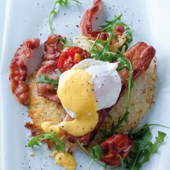 The ultimate breakfast rosti with bacon and smoked pork rashers