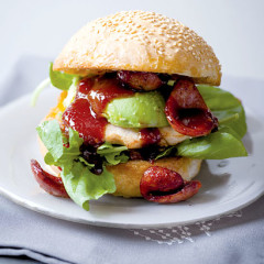 The ultimate chicken, chorizo and avo burger