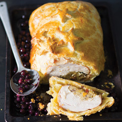 Three-bird roast Wellington with blueberries