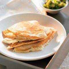 Toasted three cheese tortillas with green salsa