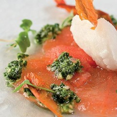 Tomato carpaccio with basil pesto and a star-anise sorbet