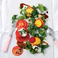 Tomato, goats-milk cheese and nectarine salad