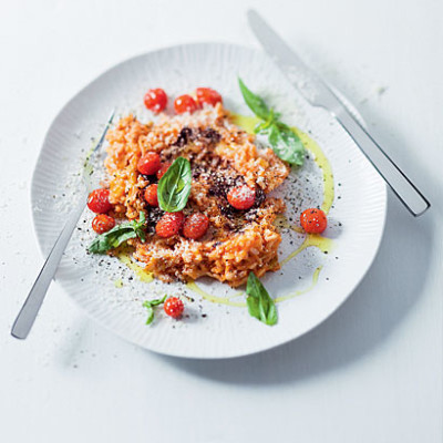 Tomato olive and Parmesan risotto