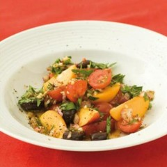 Tomato, olive, peach and parsley salsa