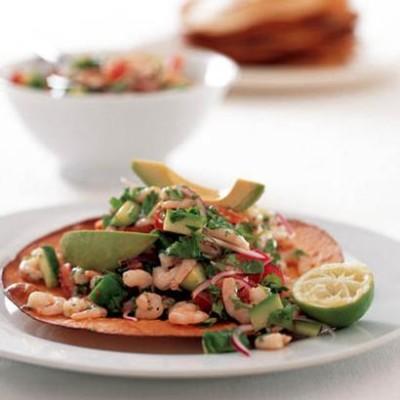 Tostados with prawn ceviche and avocado