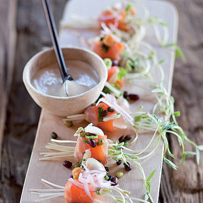 Trout sashimi, mung, aduki and black urad salad with tahini dressing