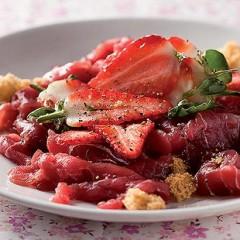 Tuna Carpaccio with strawberries and chunky croutons