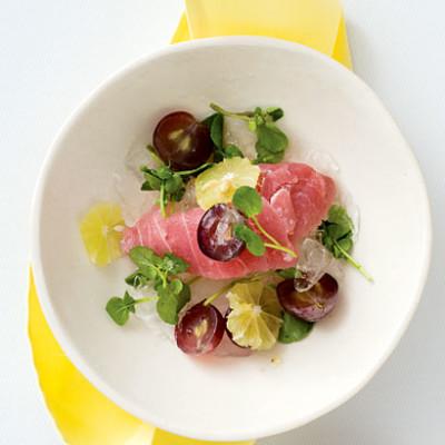 Tuna sashimi with ginger-soy dressing