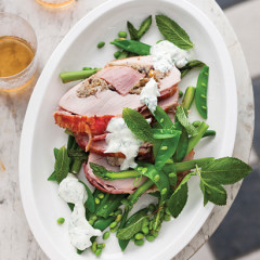 Turkey-and-gammon roast with summer greens