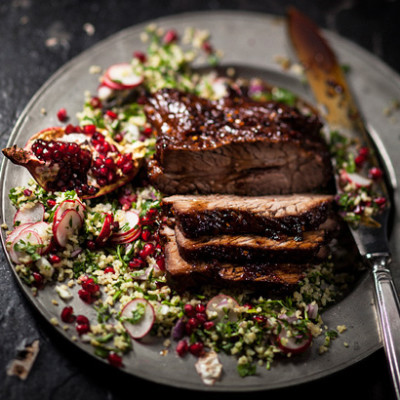 Turkish roast beef brisket with pomegranate and radish tabouleh ...