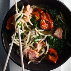 Udon-and-salmon bowl