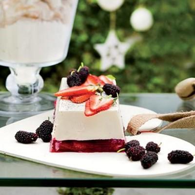 Vanilla and strawberry layered panna cotta