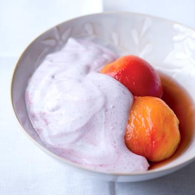 Verjuice-poached nectarines with raspberry spoom