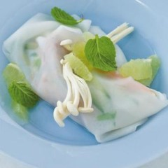 Vietnamese tuna parcels with segmented lime and fresh mint