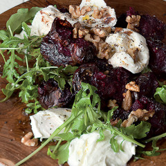 Warm beetroot and mozzarella salad