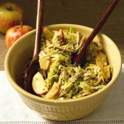 Warm cabbage and apple salad with shredded pork