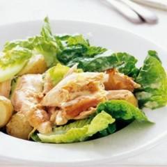 Warm Caesar-style roast chicken and potato salad